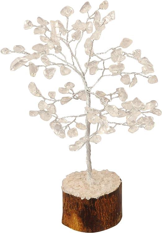 Amazon Com Pyor Clear Quartz Feng Shui Bonsai Money Tree Silver Wire Reiki Healing Good Luck Gemstone Home Decor Chakra Stones 7 8 Inch Kitchen Dining