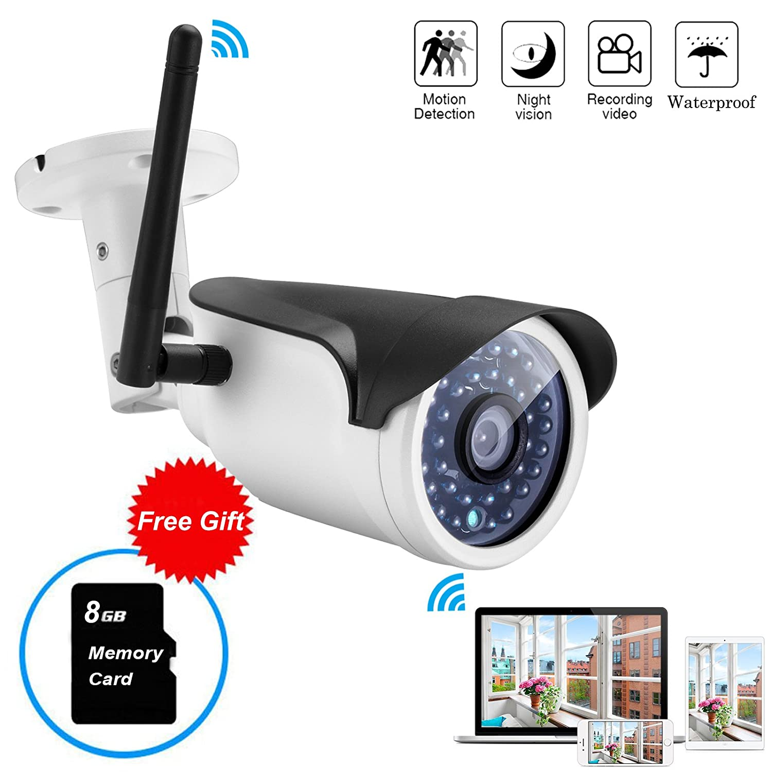 Mbangde Wireless WIFI Weatherproof 720P 1.0MP P2P IP Outdoor Bullet Camera Home Security Surveillance with 36 IR Cut, Built-in 8G TF Card,Motion Detection Alert,65ft Night Vision Distance)