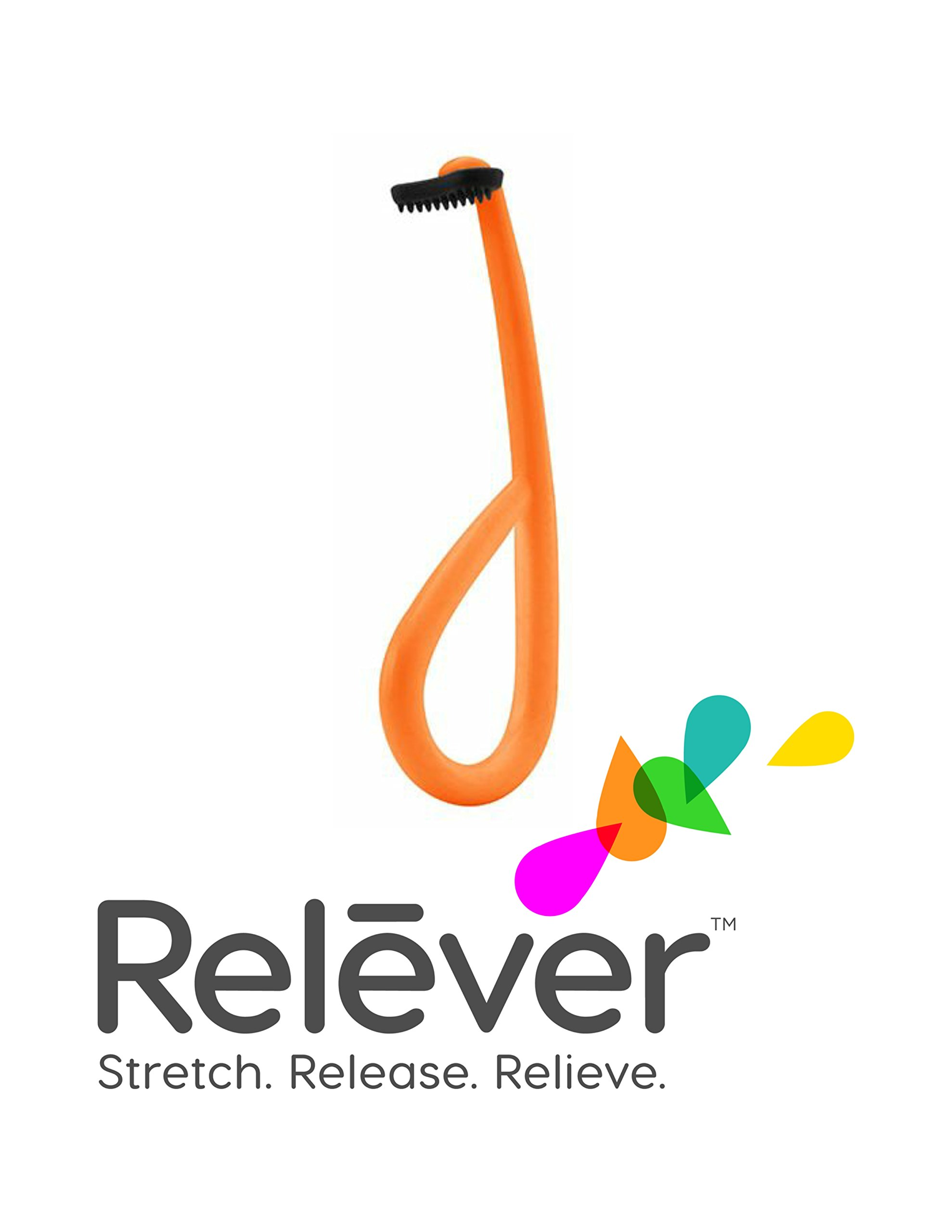 Natural Headache Relief Tool, Pain Relief, Tension, Anxiety and Migraine Headache Relief. RELEVER - Endorsed by Healthcare Professionals (Electric Orange)