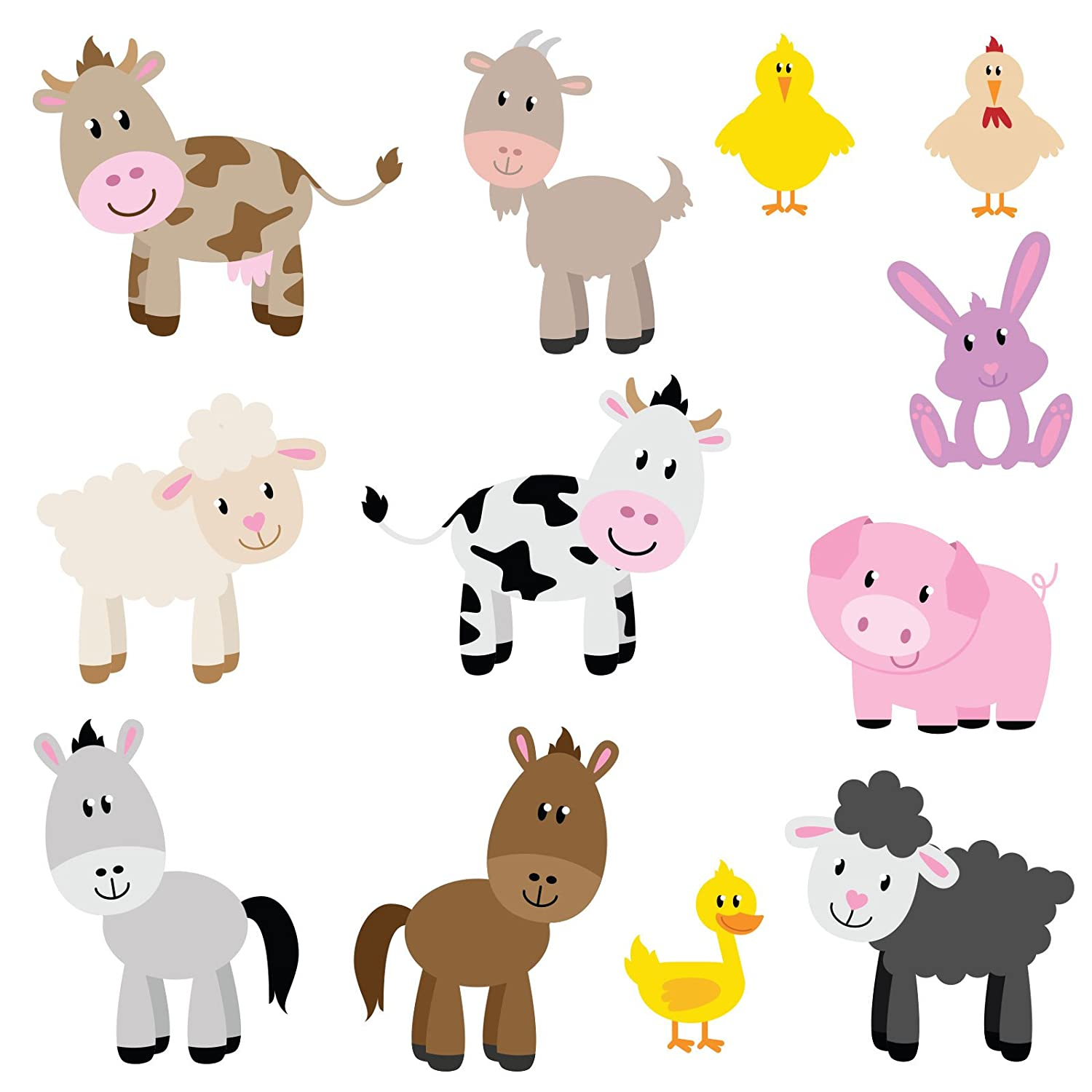 Farm Animals Childrenu0027s Wall Stickers Set Of 12 Removable Full Colour Wall  Art Decals Part 31