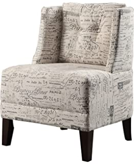 Poundex Bobkona Prissy Accent Chair In Abstract Script, White