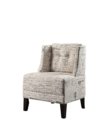 Pleasing Poundex Bobkona Prissy Accent Chair In Abstract Script White Machost Co Dining Chair Design Ideas Machostcouk