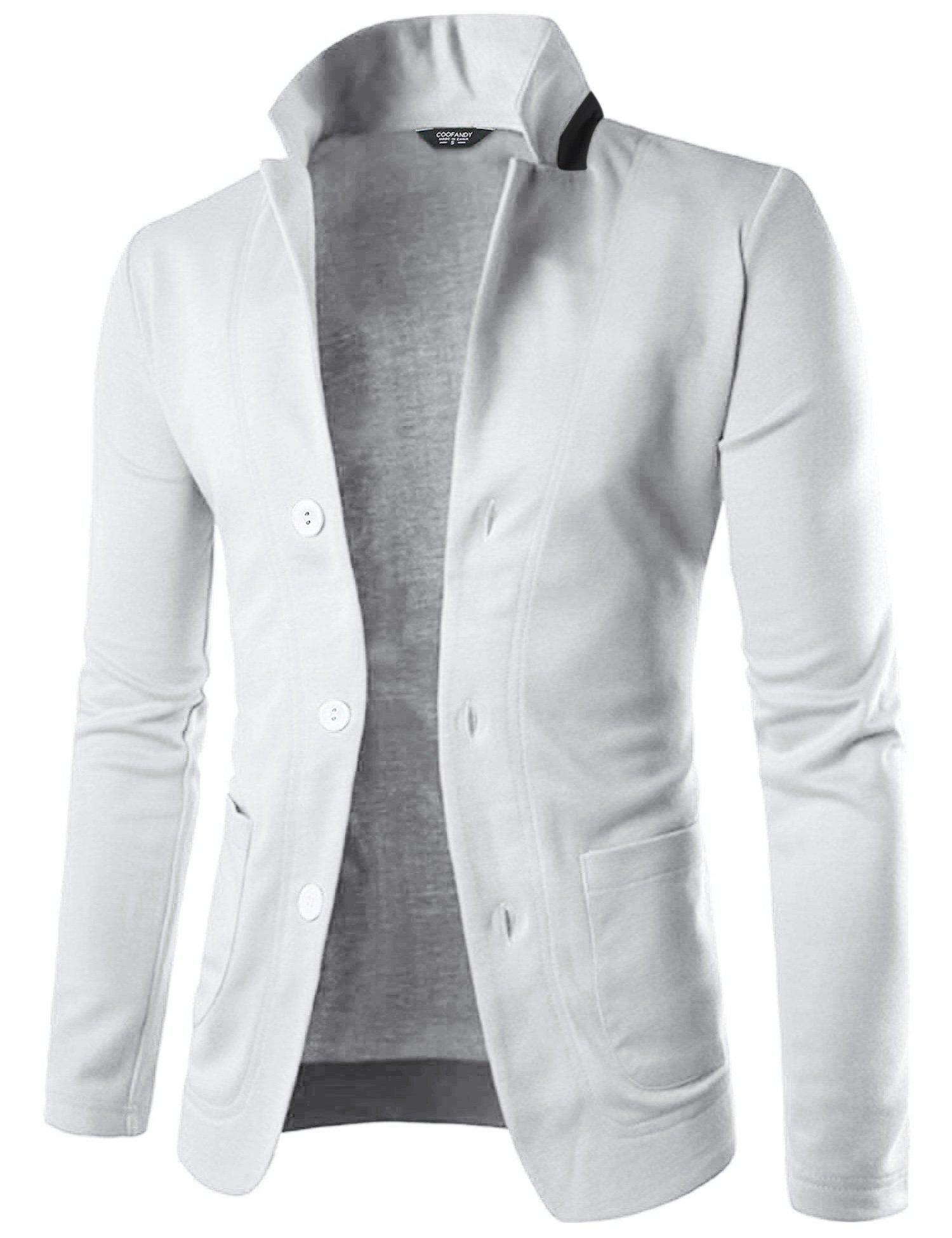 COOFANDY Mens Casual Slim Fit Blazer 3 Button Suit Sport Coat Lightweight Jacket,White,Medium
