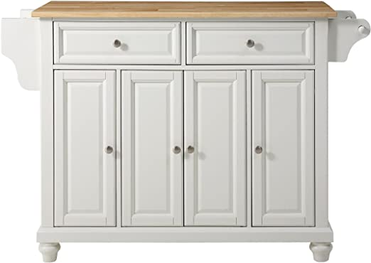 Amazon Com Crosley Furniture Cambridge Full Size Kitchen Island With Natural Wood Top White Kitchen Islands Carts