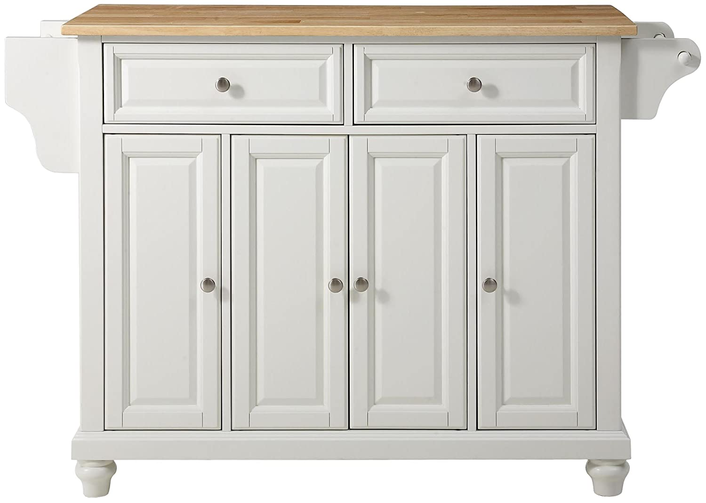 Crosley Furniture Cambridge Kitchen Island with Natural Wood Top - White