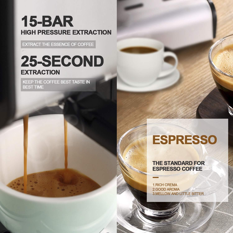 Espressomaschine Kaffeemaschine Barsetto 15 Bar Edelstahl Siebtr/ägermaschine mit unabh/ängiger Milchaufsch/äumer f/ür Cappuccino Latte und Mokka,850w