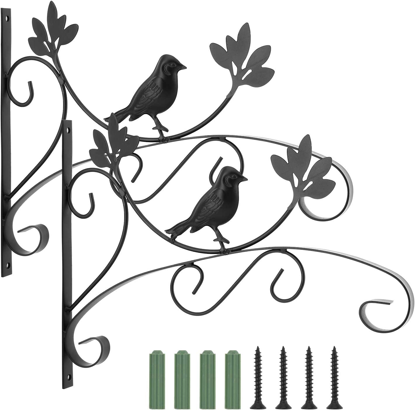 Lewondr Wall Hanging Plant Bracket, [2 Pack] 14 Inch Retro Outdoor Indoor Garden Hook Décor Alloy Decorative Plant Brackets with Screws for Bird Feeder Wind Chime Lantern, Bird 03 - Spray Paint Black