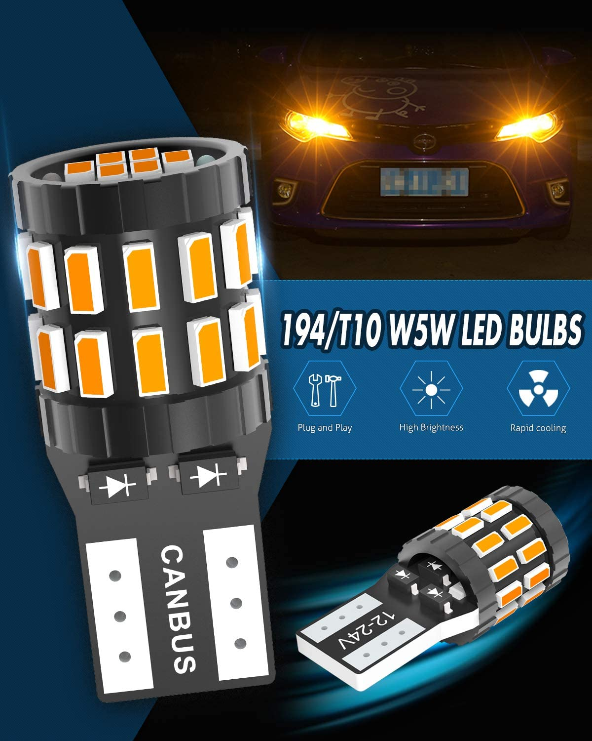 KATUR 194 T10 W5W 168 LED Light Bulb Super Bright Amber Yellow 30-SMD 3014 Chips 12-24V CANBUS Error Free LED Bulbs Replacement for Car Dome Map Door Courtesy License Plate Light Upgraded Version
