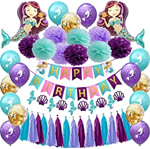 Mermaid Birthday Party Decorations Supplies - Happy Birthday Mermaid Banner, Giant Mermaid Balloon,Pom Pom Paper Flowers, Latex Confetti Balloons For Girl's Birthday Party