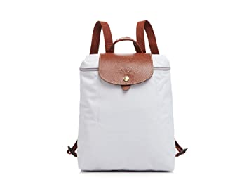 Longchamp Women Le Pliage Nylon Backpack With Leather Trim, Pearl