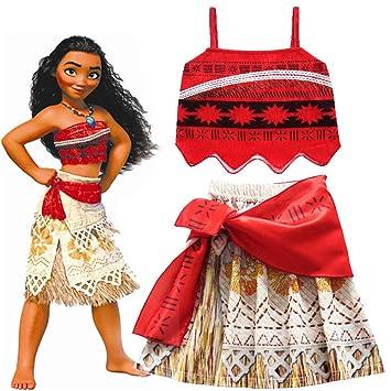 52e0ec2ed34 Hallowmax Déguisement Enfant Halloween Fille Cosplay Princesse Moana  Classique Vaiana Costume Robe Rouge
