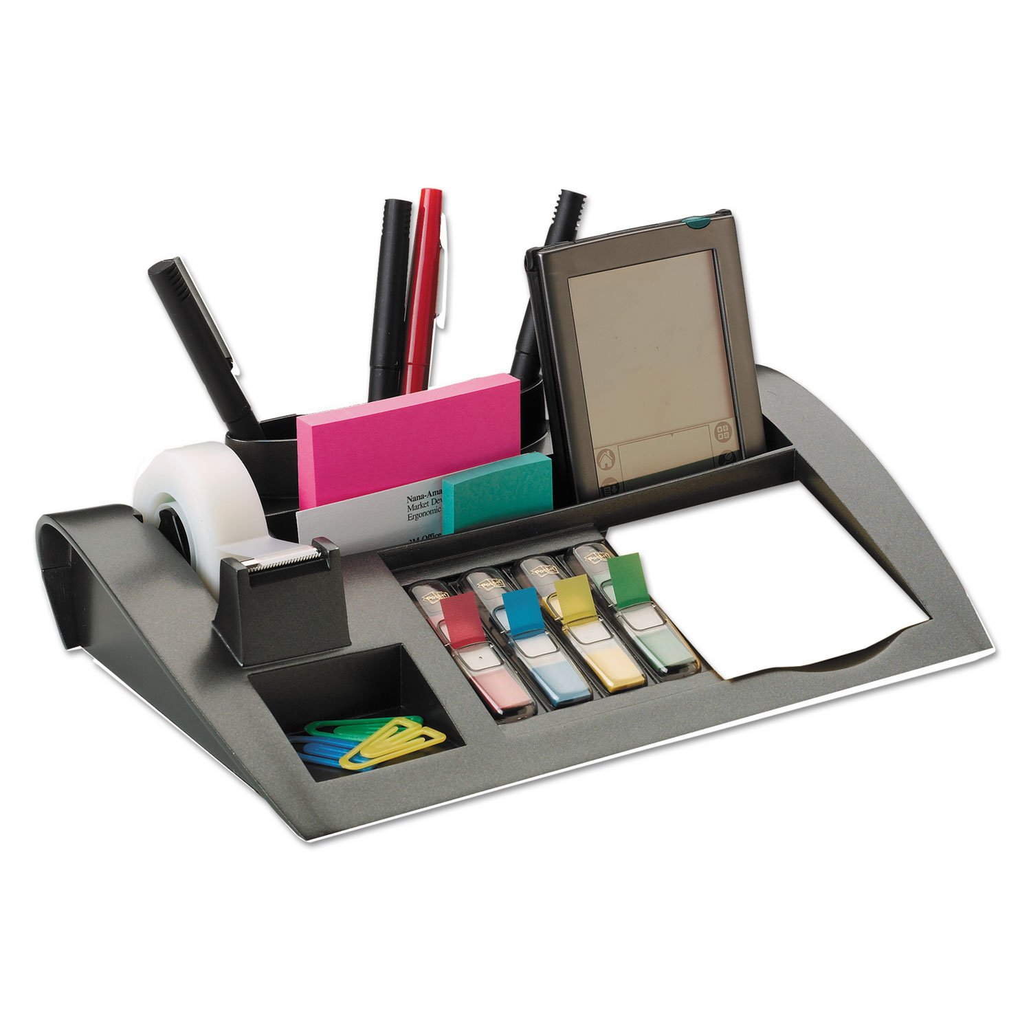 Post-it C50 Notes Dispenser with Weighted Base, Plastic, 10 1/4-Inch x 6 3/4-Inch x 2 3/4-Inch, Black by Post-it