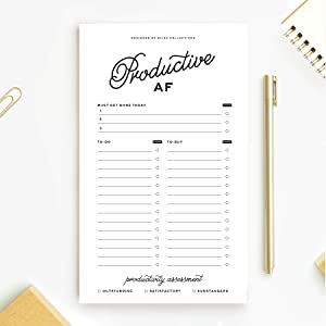 Productive AF Funny To Do List Notepad, Notes, To-Do's, To-Buy, Priorities Memo Pad for shopping lists, reminders and appointments, 4.5 x 7.5 inches, 50 sheets, MADE IN THE USA