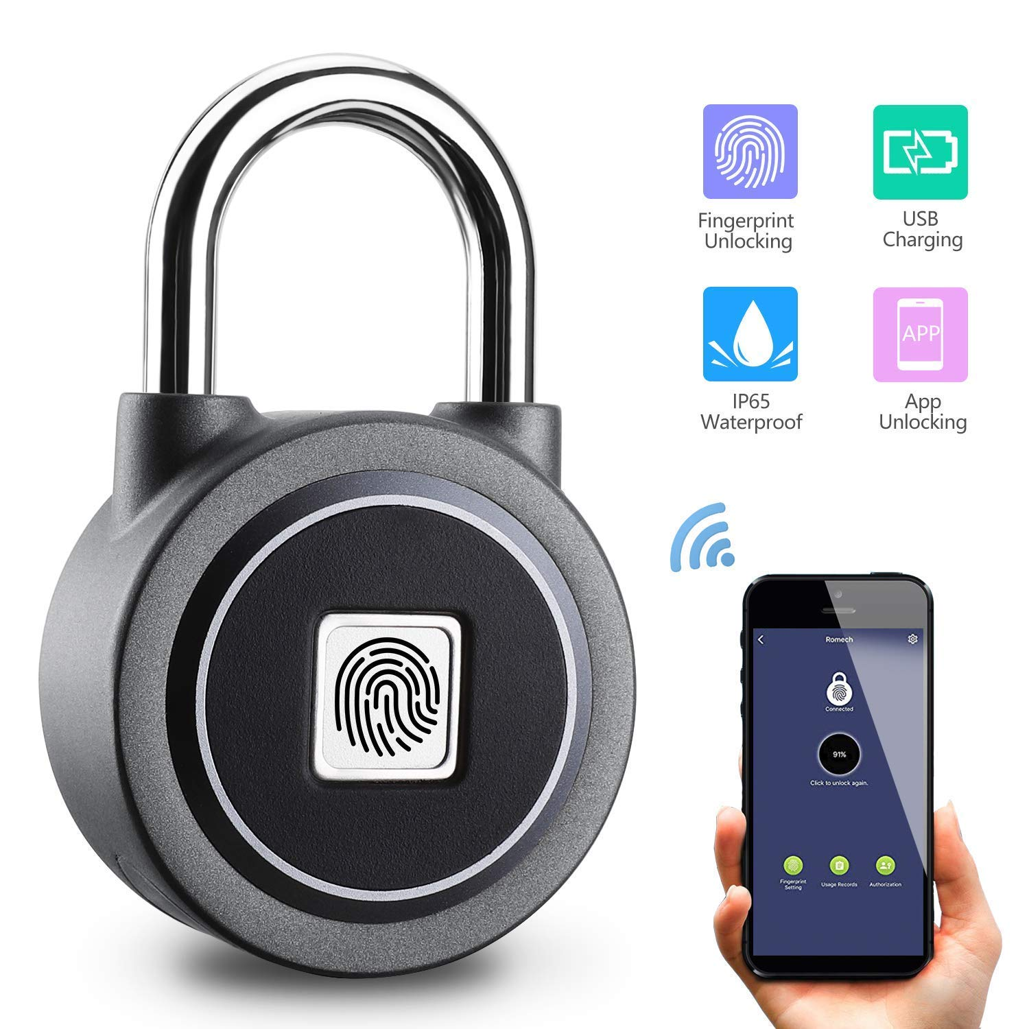 Fingerprint Padlock, Bluetooth Connection Metal Waterproof, Fingerprint Lock Suitable for House Door, Suitcase, Backpack, Gym, Bike, Office, APP is Suitable for Android/iOS, Support USB Charging