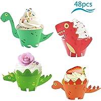 ZoomSky Cupcake de Dinosaurio, 48 Sets Envoltorios