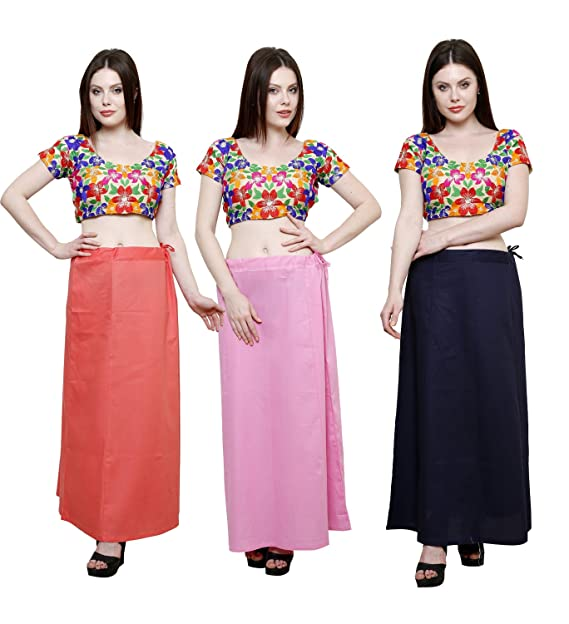 7a16500930c4ab Pistaa combo of Women's Pure Cotton Peach, Pastle Pink and Navy Blue Color  Best Ethinic Inskirt Saree petticoats: Amazon.in: Clothing & Accessories