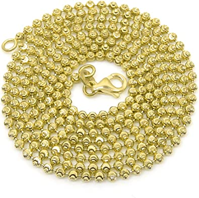 Men//Women/'s Stylish 925 Silver 14K YG Diamond Cut Ball Bead Link Italian Chain