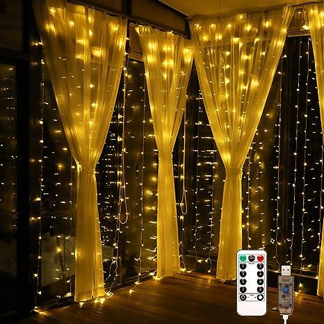 USB Powered Led Window Curtain Fairy String Light for Party Bedroom Xmas Decor