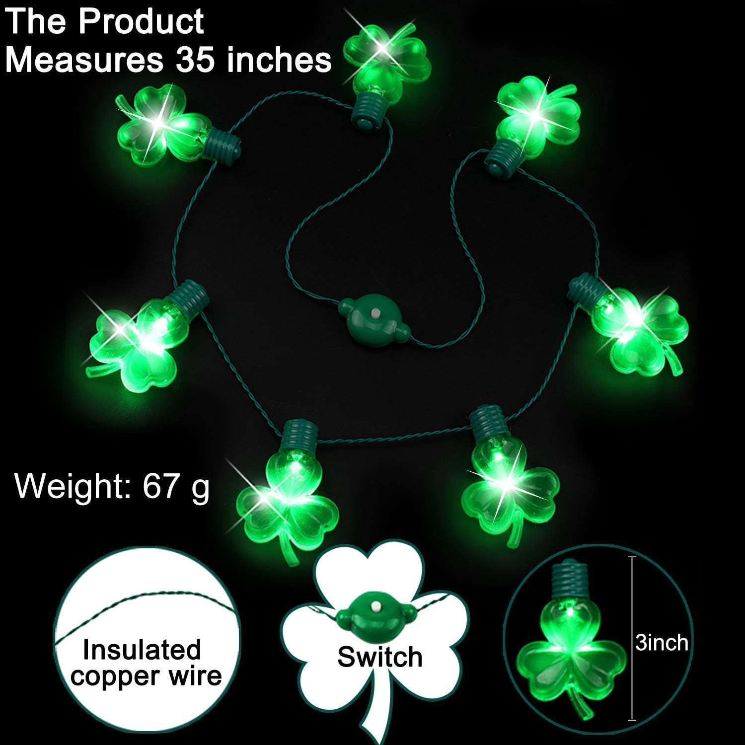 Patricks Day Light Up Necklace St Patricks Day Party Favors for Men Women Kids Patricks Day Accessories LED Green Shamrocks Necklaces Mardi Gras St iGeeKid 5 Pack St