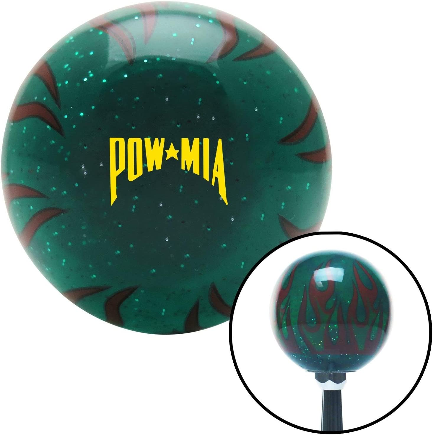 American Shifter 300605 Shift Knob Yellow Pow Mia Text Green Flame Metal Flake
