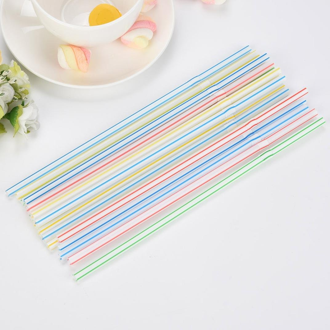 GreatFun 100Pcs Colorful Long Flexible Drinking Straws Separately Paper Packed Straws for Milk Tea