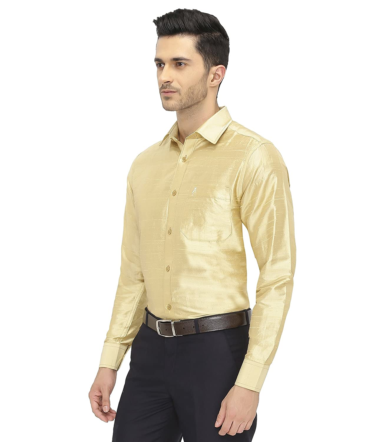 954b7afad7ca1 Khoday Williams Mens Full Sleeve Shirt - Slub Silk Dupion Material - Shirt  Collar - Golden Colour - Mens Full Sleeve Shirt - Slub Silk Dupion  Material  ...