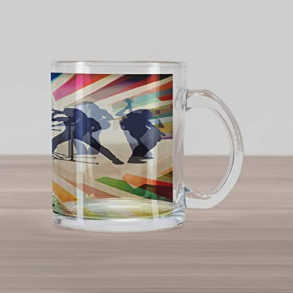 0a4a7363d6b Ambesonne Music Glass Mug, Rock Band 80s Hairstyle Music Instruments Image  with Rainbow Color Striped