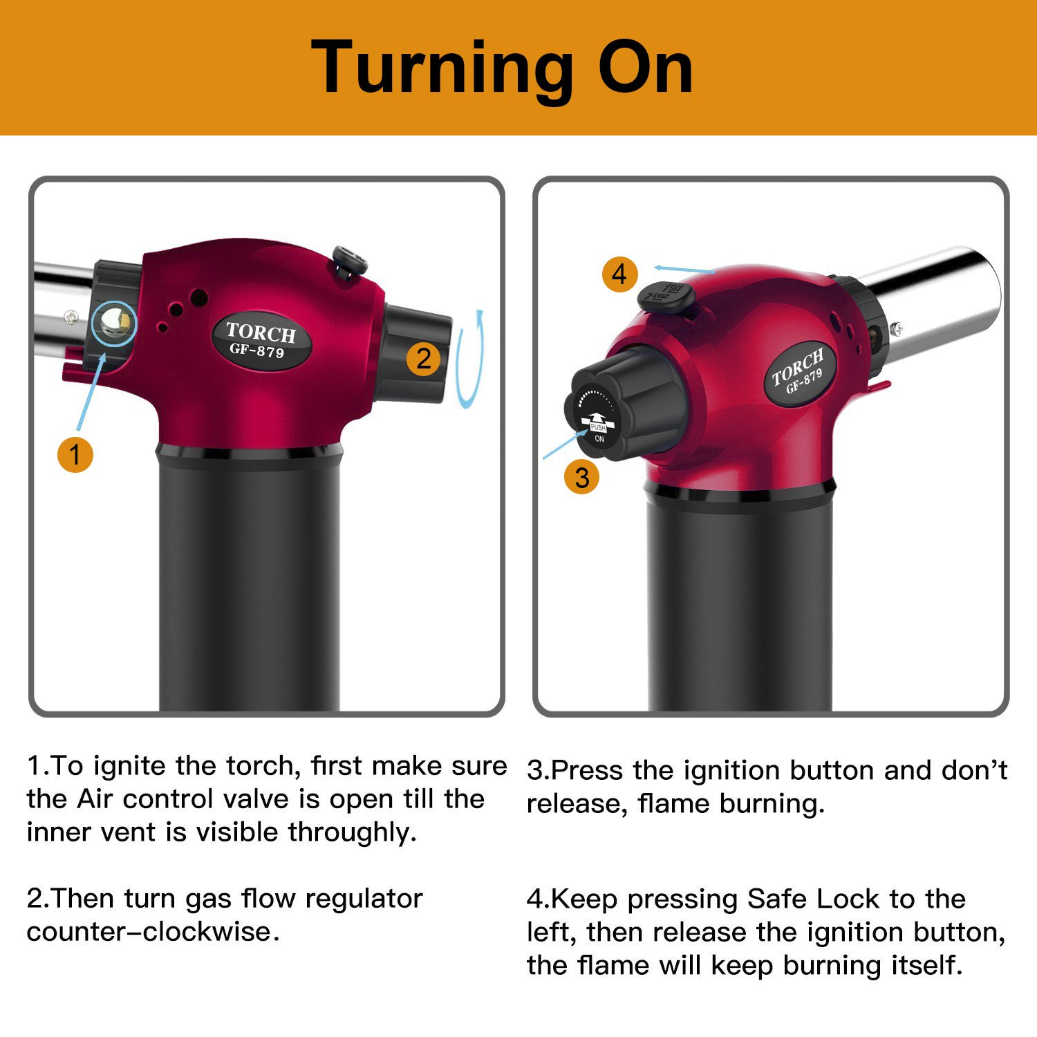 Blow Torch, Refillable Cooking Kitchen Butane Torch Lighter With Safety Lock & Adjustable Flame Perfect for Pastries, Desserts, Brazing, Soldering, Welding, Melting, Heating, Peeling & More by Semdisan (Image #5)