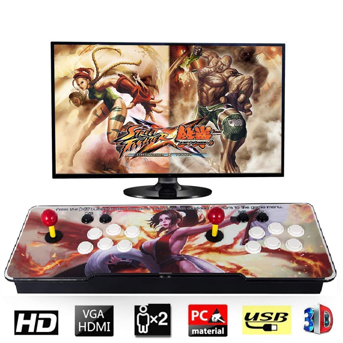 Happybuy 1500 Classic Arcade Game Machine 2 Players Pandoras Box 9s 1280x720 Full HD Video Game Console with Arcade Joystick Support HDMI VGA Output