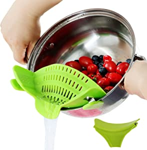 Food Strainer, Green Silicone Food Strainers Heat Resistant Clip On Strain Strainer, Rice Colander Kitchen Gadgets Drainer Hands-Free for Pasta, Spaghetti, Ground Beef, Universal Fit All Pots Bowls