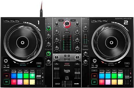 Hercules DJ - Mesa de mezclas de DJ Control Inpulse 500 con 2 platos + soporte para portátil Keepdrum HALS-20: Amazon.es: Instrumentos musicales
