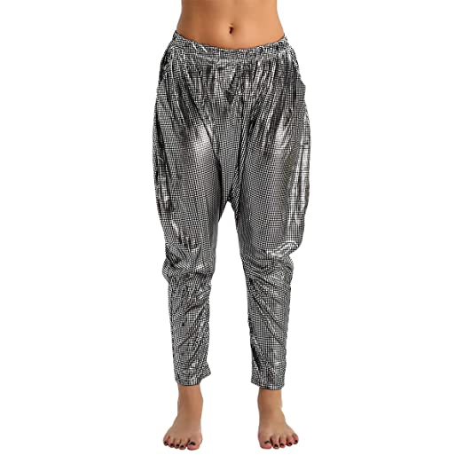 9321e21a iEFiEL Women's Shiny Sparkly Baggy Harem Hip Hop Dance Party Pants Trousers  Silver Black One Size