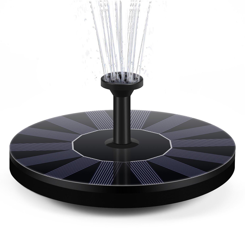 Pompe de fontaine solaire, DISDIM solaire actionné Birdbath fontaine panneau de pompe Kit 1.4W avec 4 différentes têtes de pulvérisation, arrosage extérieur submersible pour bain d'oiseaux, étang, réservoir d