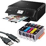 Canon PIXMA TS6050 3 in 1 Multifunktionsdrucker (Drucken, Scannen, Kopieren, WLAN, Duplex, 4.800 x 1.200 dpi) mit 5 EasyInk Patronen, USB-Kabel