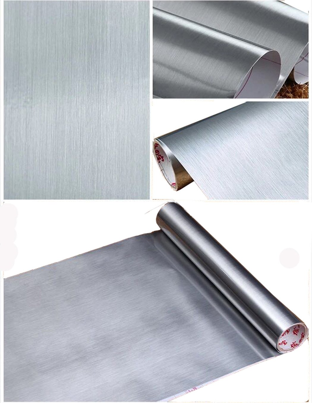 Peel and Stick Brushed Stainless Steel Contact Paper Self Adhesive Vinyl Film Shelf Liner for Covering Backsplash Oven Dishwasher Pantry Appliances (24 x 117'', Silver)