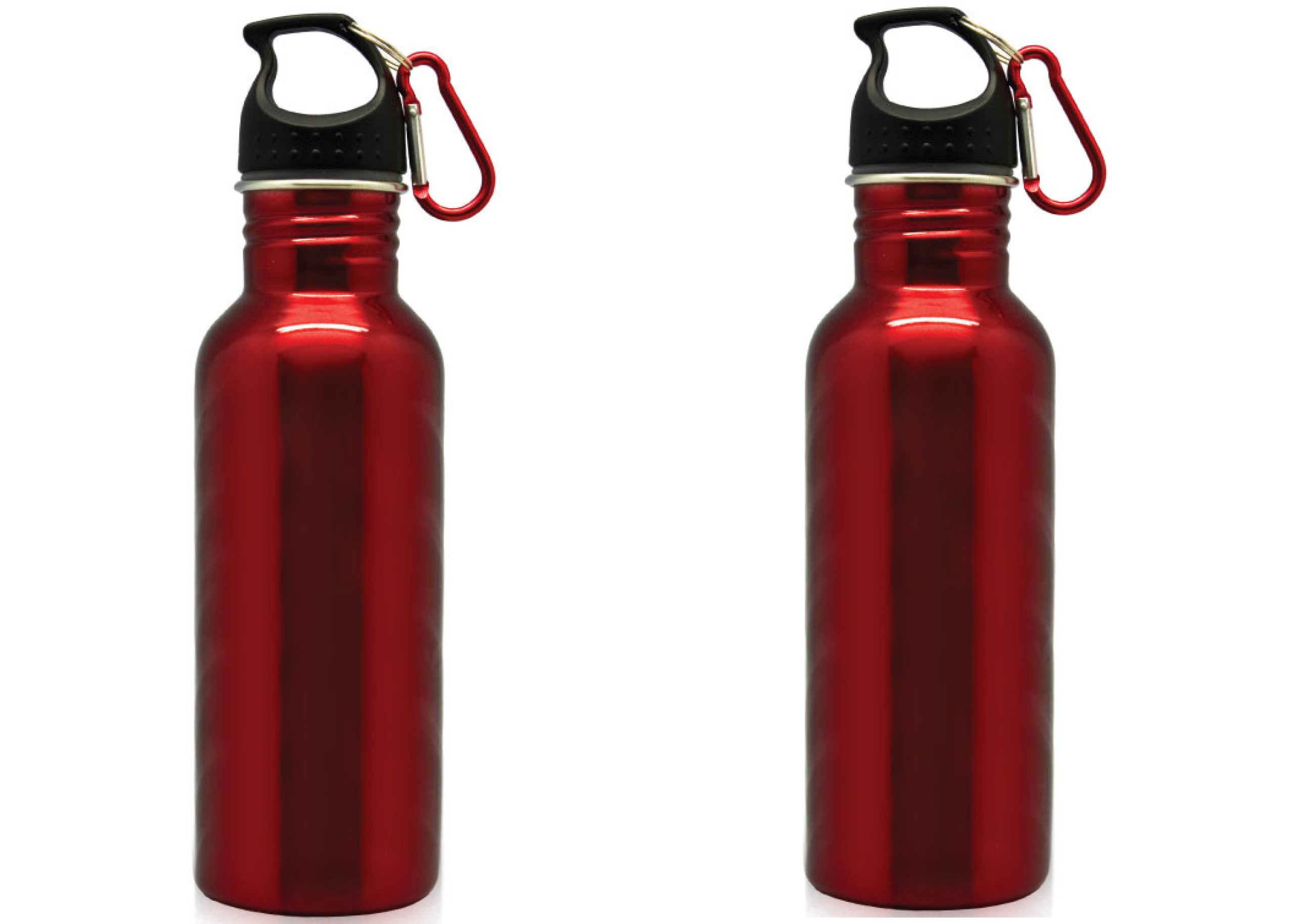 Stainless Steel Waterbottle 22oz with carabiner Red (2)