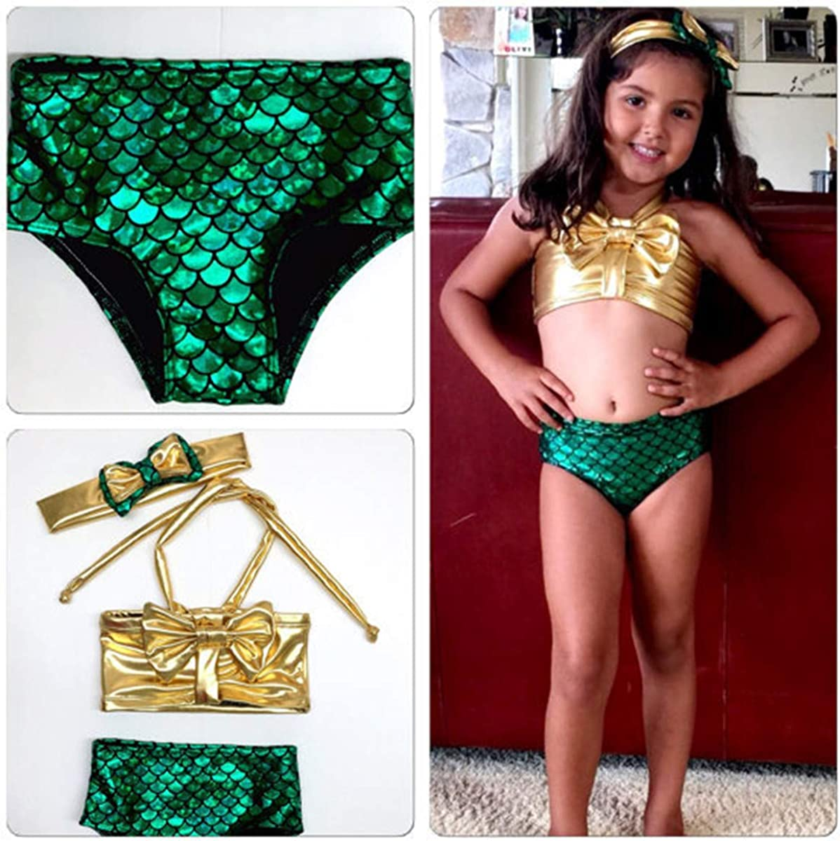 Baby Kids Girl Mermaid Swimsuit Halter Bikini Swimwear Beach Wear 3pcs Outfits