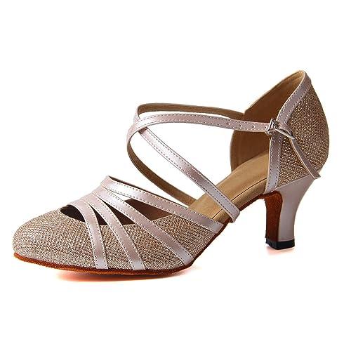 ce27000d Syrads Zapatos de Baile Latino para Mujer Danza de Tango Samba Vals de  Salón Sandalia de Salsa: Amazon.es: Zapatos y complementos