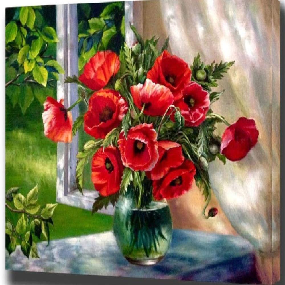 60x75cm  jjyyh Peintures par Numéros Fleur De Fenêtre Rouge Image 100X180Cm Bricolage Peinture à l'huile Linen Toile pour Adultes Les Enfants Débutants des Gamins' Jouet Numéros Peinture par Décoration Murale