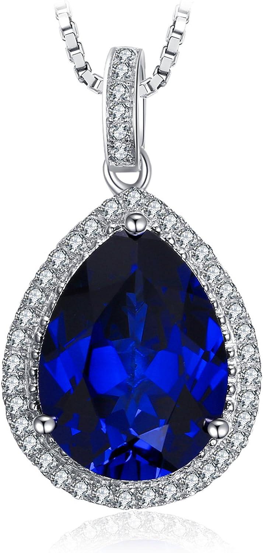 jewelrypalace lujo pera Cut creado Gemstone colgante de plata de ley 925sólido collar 18pulgadas