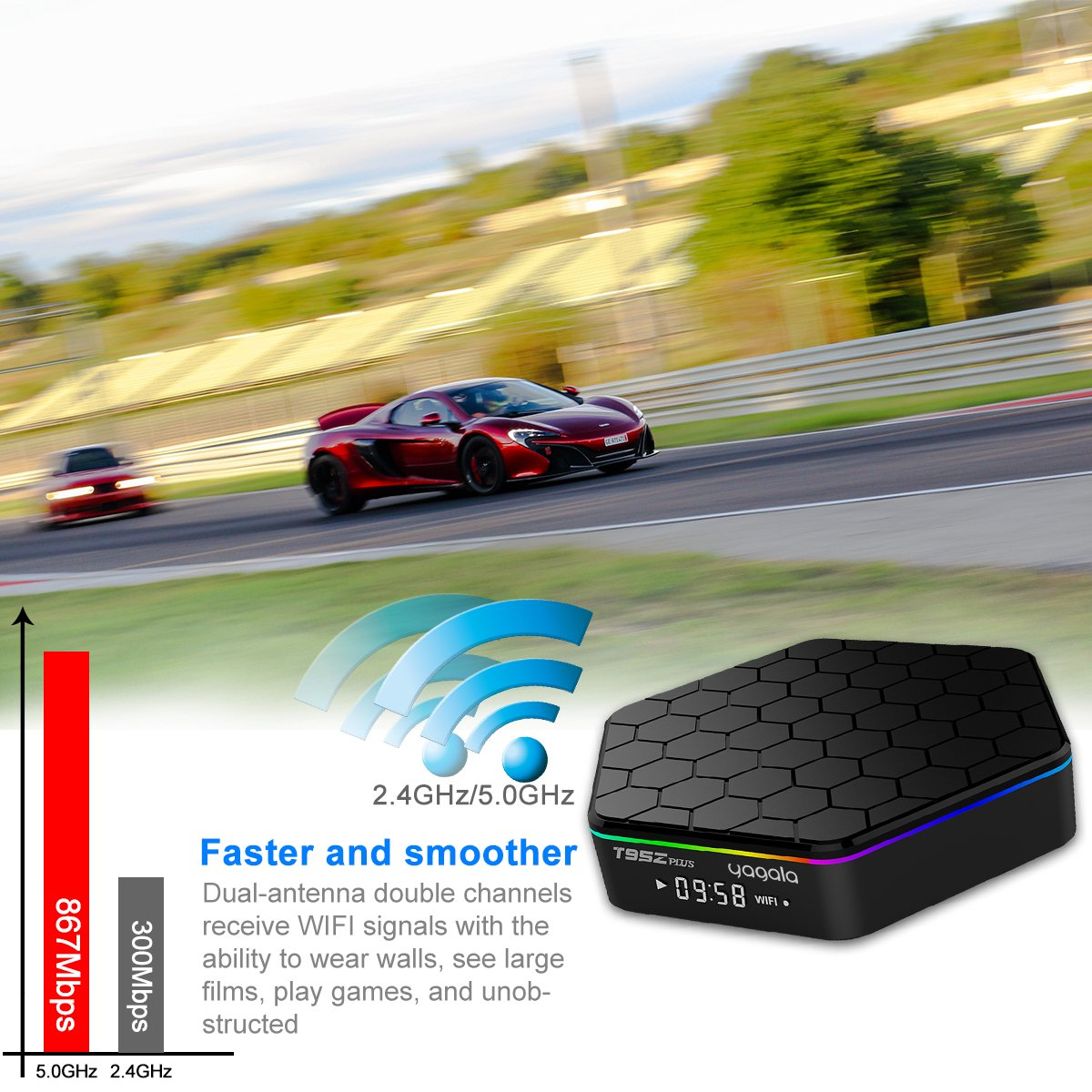 YAGALA T95Z Plus Android 7.1 TV Box Amlogic S912 Octa Core 3GB/32GB Dual Band WiFi 2.4GHz/5.0GHz 4K HD TV Box with Backlit Mini Wireless Keyboard by YAGALA (Image #5)