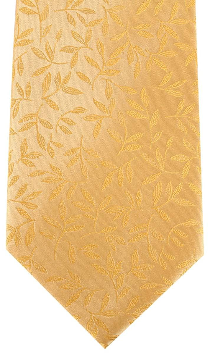 Gold David Van Hagen Mens Floral Tie