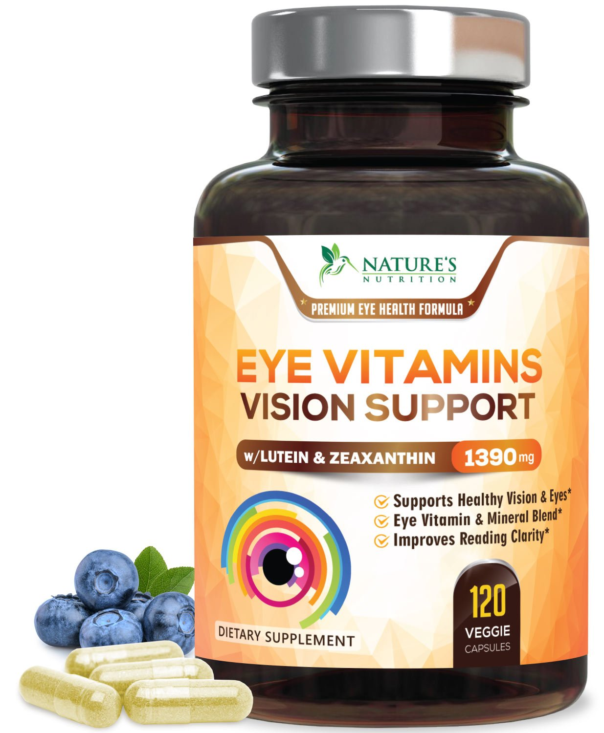 Eye Vitamins with Lutein & Zeaxanthin, Highest Potency Natural Vitamin and Mineral Supplement 1390mg - Made in USA - Best Formula for Vision Support, Dry Eyes & Macular Health - 120 Capsules by Nature's Nutrition