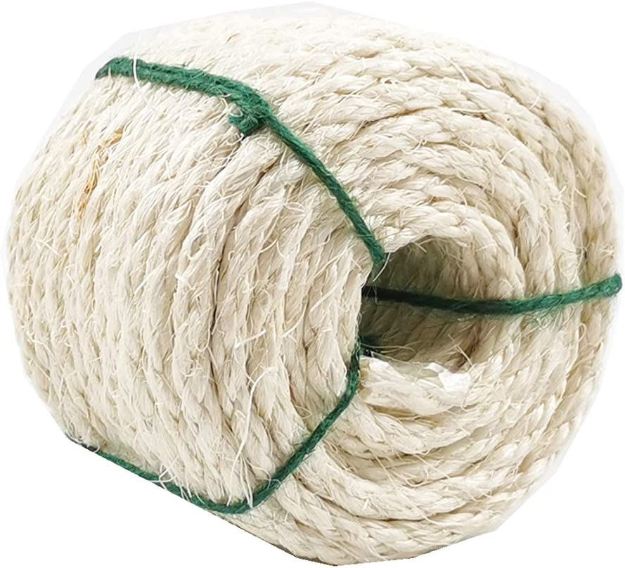 Treasborn Natural Sisal White Rope for Cat Scratching Post Replacement, 100 Feet / 50 Feet Hemp Rope for Repairing, Recovering or DIY Cat Scratcher, 1/4 Inch Diameter
