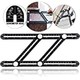 Universal Angularizer Ruler Template Tool - Full Metal Multi Angle Measuring Ruler Angleizer Template Tool Upgraded Aluminum Alloy Multi Functional Ruler with Goniometer Head by TENGYES