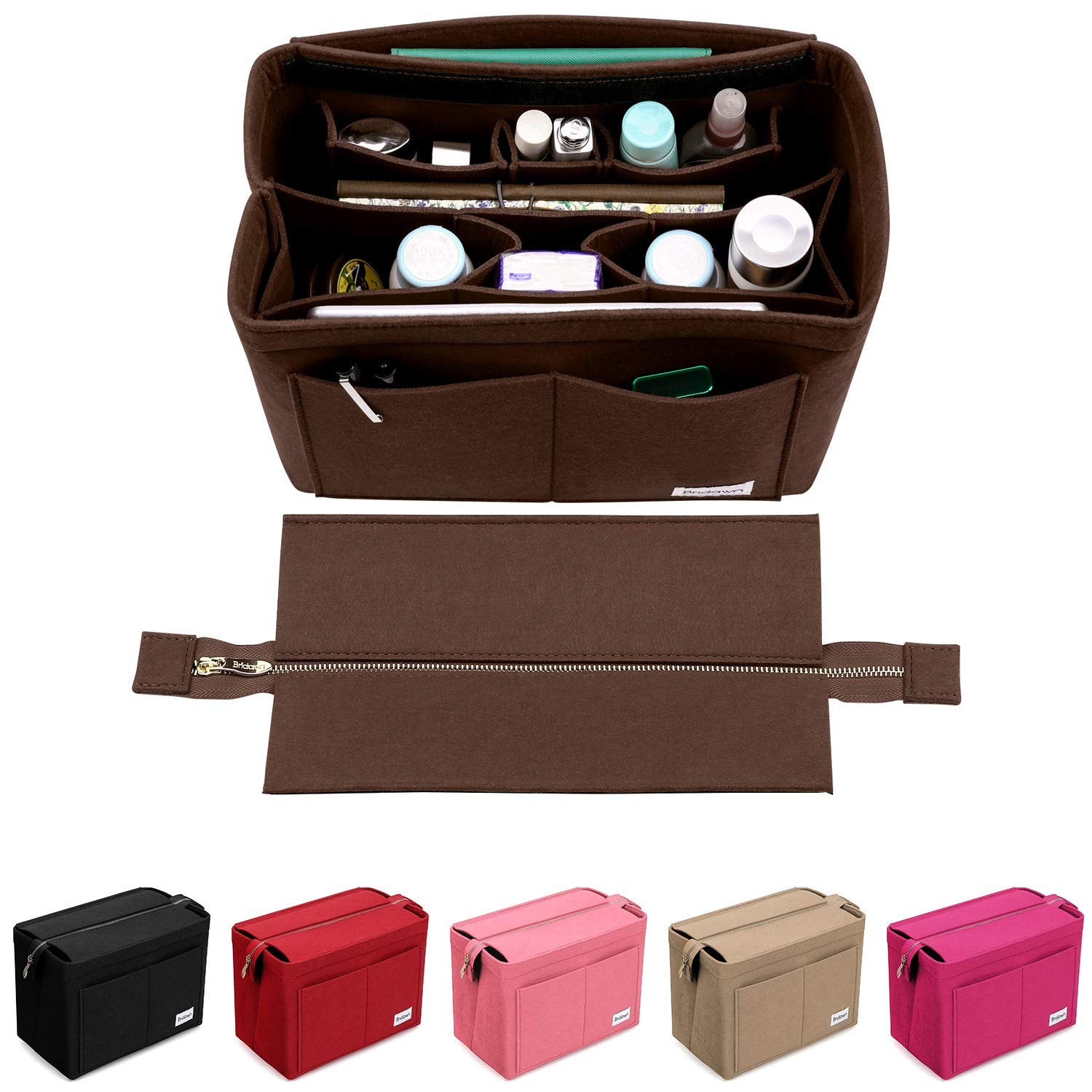 Purse Organizer Insert Bridawn Felt Handbag Organizer Tote shaper with Detachable Zipper Cover