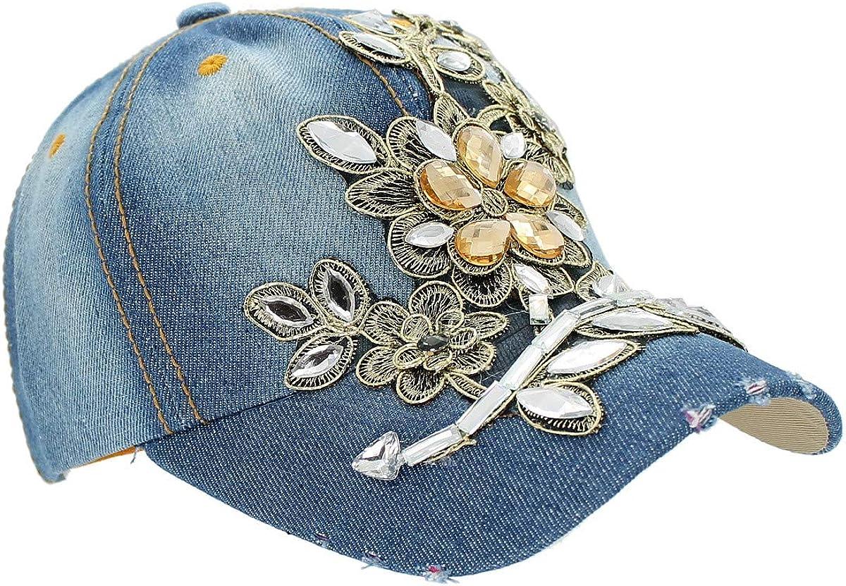 dy/_mode Damen M/ütze Jeans Kappe Basecap mit Glitzer K003