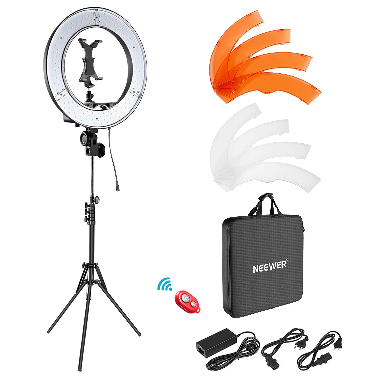 Neewer Ring Light Kit: 18 inches Outer 55W 5500K Dimmable LED Ring Light with Light Stand/iPad Clamp/Soft Tube/Color Filter/Carrying Bag for YouTube Video, Selfie, Make-up, Hair Salon, etc