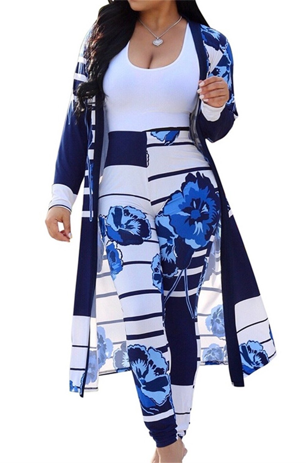 Womens Long Sleeve Stripe and Floral Cardigan Cover up Long Pants 2 Piece Suit Set Outfits