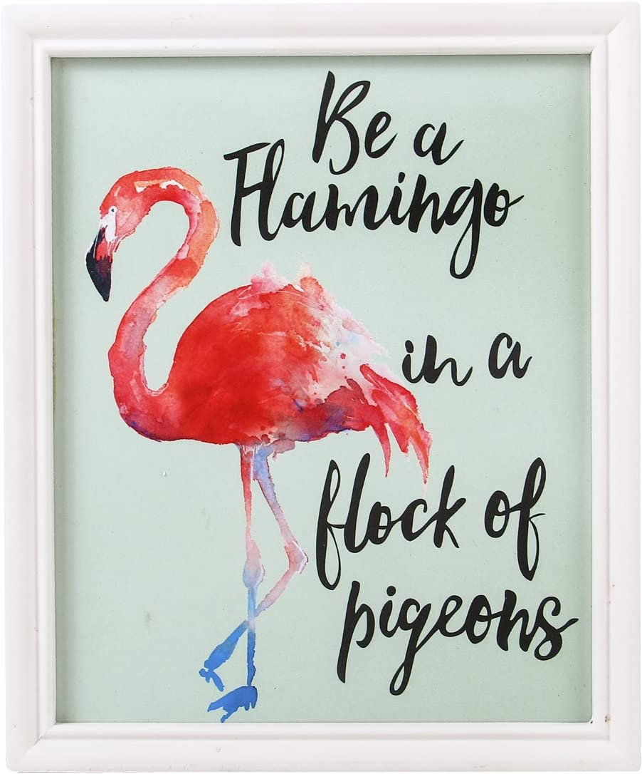 """NIKKY HOME Decorative Wood Framed Wall Art Prints with Quotes""""Be a flamingo in a flock of pigeons"""""""